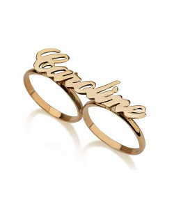 14K Solid Yellow Gold Two Finger Special Name Ring Personalized Jewelry