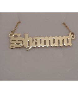 Shammi 14K Solid Yellow Gold Name Necklace Old English design