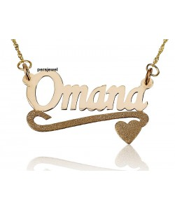 Side heart special sparkling texture in 14k solid yellow gold chain and pendant