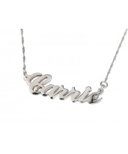 "Silver ""Carrie"" Unique Design Name Necklace"