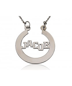 Silver Man's Horseshoe Design Name Necklace