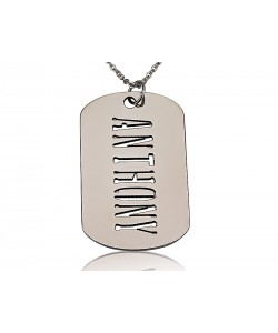 Silver Man's Rectangle With Engraved Name Necklace