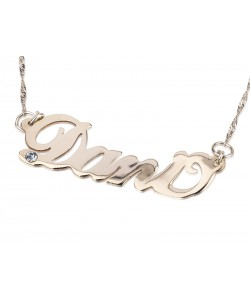 Sterling Silver Name Necklace with Swarovski Stone
