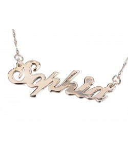Silver Name Necklace with Swarovski Stone design by PersJewel