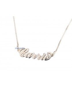 "Silver Small ""Carrie"" Style Name Necklace"