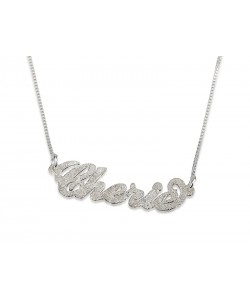 Silver Sparkling Carrie Style Name Necklace Design