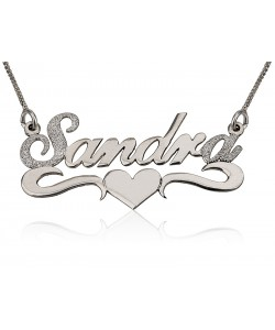 Sterling Silver Sparkling Initial + Last Letter Lower Heart name necklace