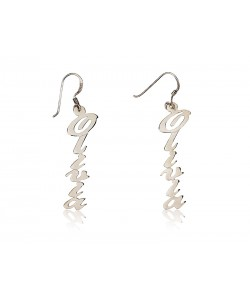 Silver drop earrings up to 12 letters in real 925 sterling silver