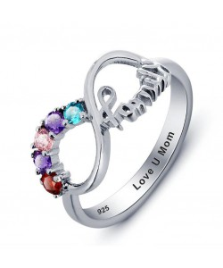 Personalized Sterling Silver Infinity Name Ring with Birthstone