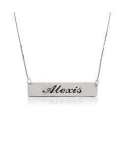 Silver name bar necklace with box style chain and black engraving