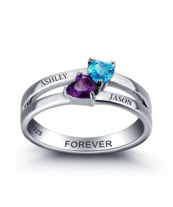 Sterling Silver Ring with Two Names & Birthstones