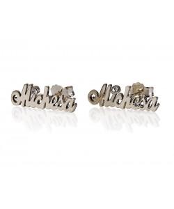 Silver stud earrings birthstone custom made