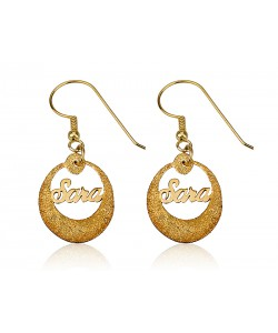 Sparkling Name Earrings Round Circle in 18 karat solid gold with your name - PersJewel