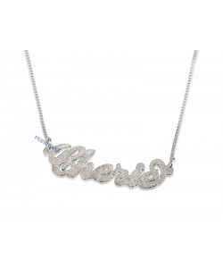 Sparkling Diamond-Cut 14k Solid Gold Carrie Style Name Necklace