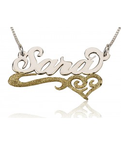 Sterling Silver & Gold Plated Lower Line & Heart name necklace