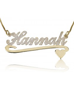 Sterling Silver & Gold Plated Sparkling Lower Heart name necklace