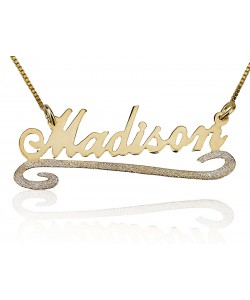 Sterling Silver & Gold Plated With Sparkling Lower Line name necklace