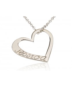 Sterling Silver Amazing Engraved Heart Pendant