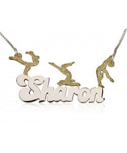 Mix of Sterling Silver And Gold Plated - 3 Athletic Figures name necklace