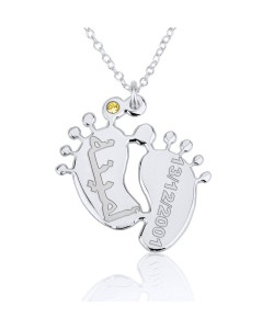 Sterling Silver in Arabic Name and Date on Feet Necklace