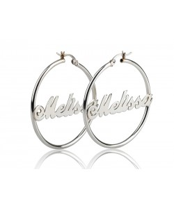 0.925 Sterling Silver Hoop Earrings - any name any word