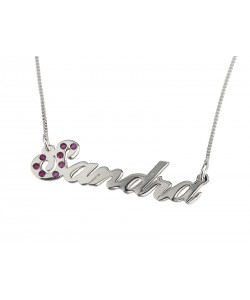 Sterling Silver Initial Letter Swarovski Name Necklace