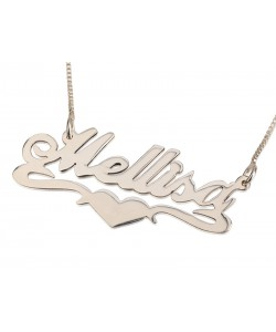 Sterling Silver Lower Heart Style Name Necklace