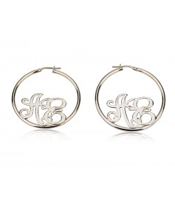 0.925 Lower Hoop Monogram Earrings design, See our Monogrammed collection