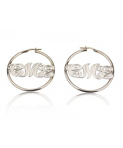 0.925 Sterling Silver Middle Hoop monogrammed Earrings by PersJewel