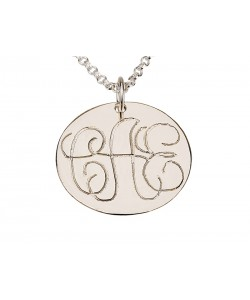 Sterling Silver Round Plate Monogram Pendant Name Necklace