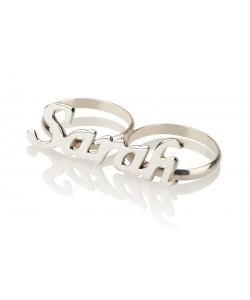 Sterling Silver 2-Finger Name Ring