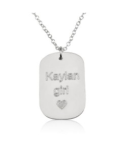 Sterling silver disc engraved name necklace