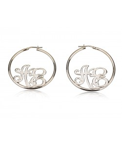 Sterling silver earrings Hoop monogram earrings up to 3 letters