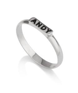 Sterling silver black wording ring