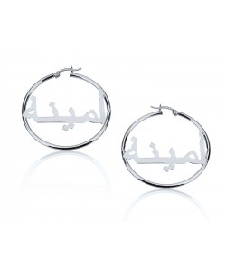 Sterling silver hoop earrings - Monogram