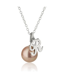 Personalized One letter Initial name necklace with Pearl