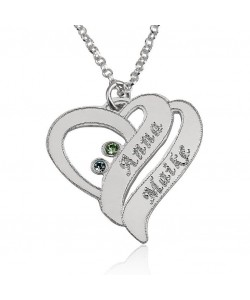 Sterling silver necklace with two names and swarovski stones