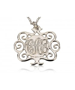 Sterling silver monogram necklace flower style
