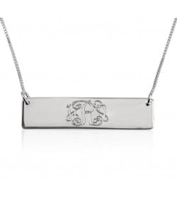 Sterling silver Monogram font bar necklace