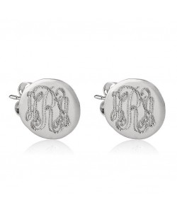 Sterling silver stud earrings - Monogram