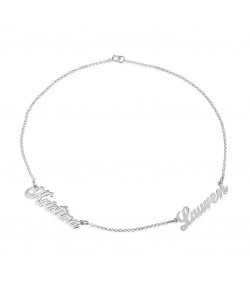 Dainty Sterling Silver Two Names Name Necklace