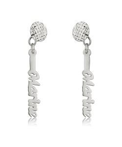 14k white gold vertical name earrings