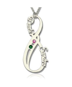 Vertical Infinity Name Necklace with Birthstones
