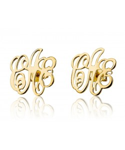 Stud monogram earrings in 10k solid real gold, Up to 3 letters.