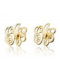 Monogram Earrings 3 letters 14k solid yellow gold