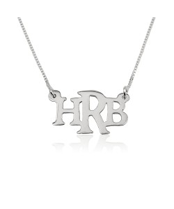 Trendy 14K White Gold 3 Capital Letters Necklace