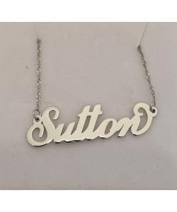 Small 14k White Solid Gold Name Necklace Sutton style
