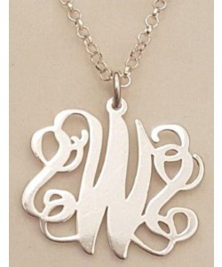 S.W.S 14k Solid White Gold Monogram Font Name Necklace