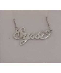 "Silver Small ""Syssi"" Name Necklace Design"