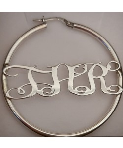 "18k White Gold Plated Hoop ""T.A.R"" Monogram Earrings"